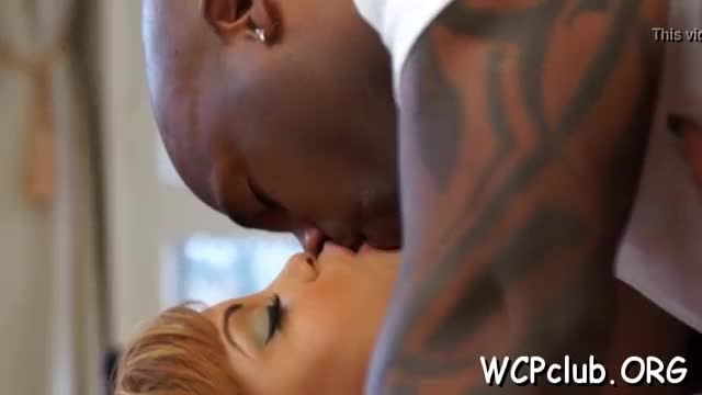 Darksome babe feels fat rod of ebony thug in throat and twat